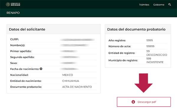 Descargar Curp en pdf desde RENAPO